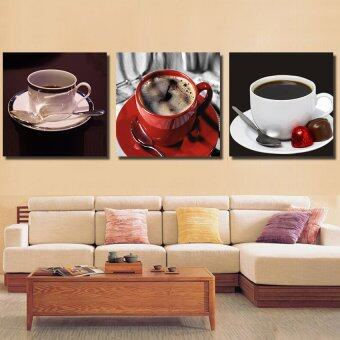 ELLEN กรอบรูป กรอยลอย ภาพพิมพ์ ภาพตกแต่งบ้าน รูปติดผนัง พร้อมแขวน รูปติดผนังกรอบลอย กาแฟในแก้วชนิดต่างๆ3ชิ้น มีกรอบ40*40 cm