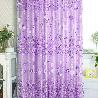 ผ้าป่านลายดอกไม้บานหน้าต่างประตูม่านผ้าม่านโปร่ง ValancePurple ผ้าพันคอ
