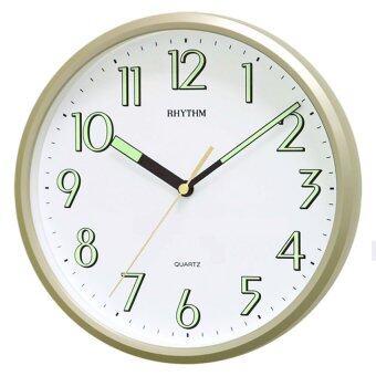 RHYTHM นาฬิกาแขวนผนัง ตัวเลขพรายน้ำ รุ่น CMG727NR18 - สีบอร์นทอง