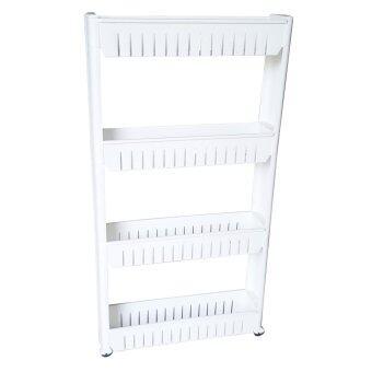 ชั้นวางของในที่แคบ ชั้นวางของข้างตู้เย็น ชั้นวางของในห้องน้ำ 4 ชั้น ติดล้อ - ขาว
