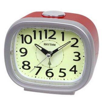RHYTHMนาฬิกาปลุกBell Alarm Clock (Snooze)หน้าจอมีพรายน้ำ รุ่นCRA846NR19 Silver/Red
