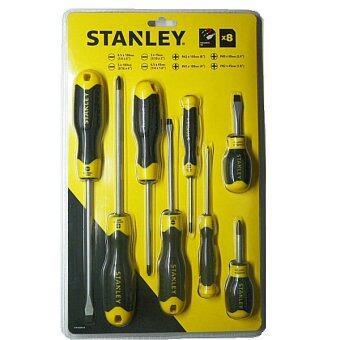 Stanley #92-004 ชุดไขควง ปากแบน - ปากแฉก ด้ามหุ้มยาง 8 ตัวชุด รุ่น Cushion Grip 2 - Black