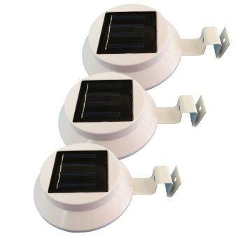 โคมไฟโซล่าเซลล์แบบกลม 3 LED (LED ขนาดใหญ่) แสงสีขาว (ชุด 3 ชิ้น)