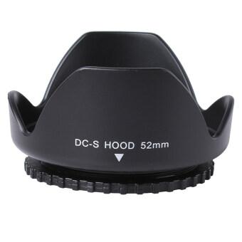52มมเลนส์ฮูดทรงกลีบสำหรับ Nikon D5200 D5100 D3200 D3100 D3000 18 55มมวีอาร์ (สีดำ)