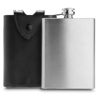 226.8กรัมดื่มเหล้าแอลกอฮอล์สแตนเลสเหล็กคอหนังสะโพกเคสกระเป๋าสีดำ