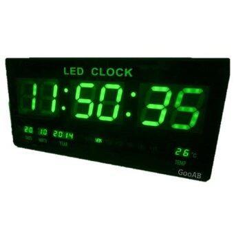 GooAB Shop นาฬิกา LED ติดฝาผนัง แบบบาง ตัวเลข 3 นิ้ว ขนาด 18 นิ้ว + รับประกัน 6 เดือน