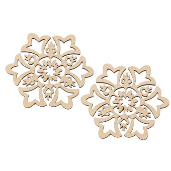 Harga 10pcs 8*8cm Christmas Hanging Ornaments Decoration Wooden Hollow Snowflake Design Embellishments - intl