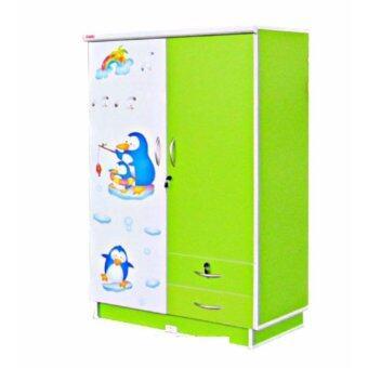 RF Furniture ตู้เสื้อผ้าเด็ก 80cm รุ่น Wk002m-g/w ( สีเขียวลายการ์ตูนน่ารัก )