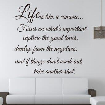 Harga Removable Waterproof Wallpaper Life Is Like A Camera English Quote Home Decor 55cm*57cm (intl)