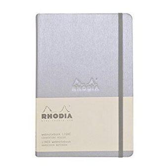 Rhodia WEBNOTEBOOK สมุดโน๊ตปกแข็งอย่างดี ขนาด A 5 14 x 21 ซ.ม. มีเส้น รุ่น 118607 (สีเงิน) พร้อมสายรัดและผ้าริบบิ้นสำหรับคั่นหน้า