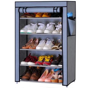 Shoe Rack ชั้นวางรองเท้า 5 ชั้น + ผ้าคลุม - สีเทา