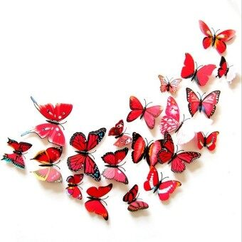 (1 ชุด=24ชิ้น) ศิลปะการออกแบบพีวีซีสี 3D ดึงดูดผีเสื้อสติ๊กเกอร์ติดผนังพลาสติก (สีแดง)