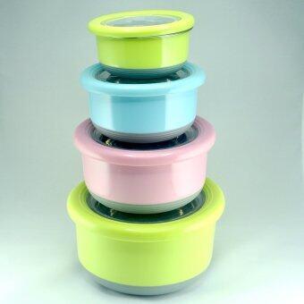 ชุดกล่องใส่อาหาร Stanless ทรงกลม 4 ใบ คละสี (รุ่นกันลื่น-กันเลื่อน)