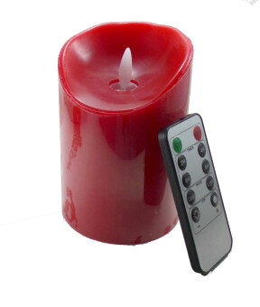 Harga LED Safety & Flameless LED Decorative Candle with remote controller 8 x 12 cm - Red