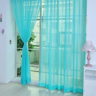 2ชิ้น ผ้าม่านหน้าต่างผ้าม่านโปร่งพาป่านสีน้ำเงิน