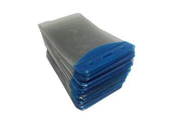 ซองใส่บัตรพลาสติกใสฝาปิดสีน้ำเงินขนาด 105 x 65 มม. (50 ซอง)
