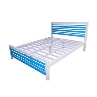 ISO เตียงเหล็กกล่อง รุ่นคอนโด เหล็กหนาพิเศษ 6ฟุต (สีฟ้าขาว)