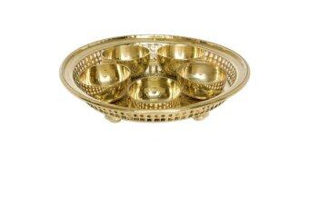 Thai Bronze ชุดถวายข้าวพระถาดกลม - สีทอง