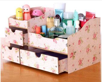 IdeaAye กล่องไม้ ใส่ของ ของจุกจิก เครื่องประดับ เครื่องสำอาง (สีชมพู ลายวินเทจดอกกุหลาบ)