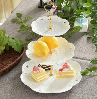 KitchenMarks (รวมจาน 3 ใบแล้ว) ชุด High tea 3 ชั้น จานเซรามิคพอร์ซเลน จานเสริฟเค้ก 3 ชั้น สีทอง รวมจานเซรามิค 3 ใบ