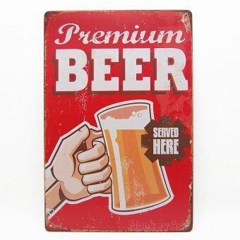 MonkeyAct ป้ายสังกะสีวินเทจ Premium Beer Served Here