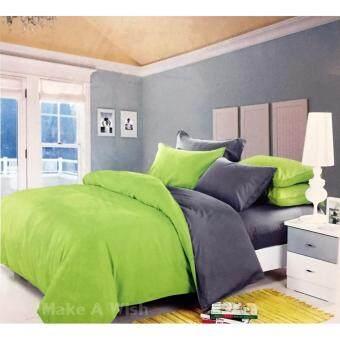 Lily Bedding ชุดผ้าปูที่นอน 6 ฟุต 6 ชิ้น พร้อมผ้านวม เกรด A ลาย BS033 - สีเทา/สีเขียว