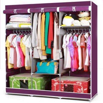 HOUSE BRAND ตู้เสื้อผ้า พร้อมผ้าคลุม 3 บล็อค (สีม่วง)
