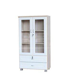 RF Furniture ตู้เอนกประสงค์ ทั้งเก็บเอกสาร และ โชว์ของรุ่น FL0802 ( สีโซลิค/ขาว )