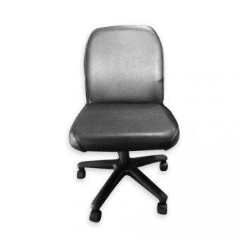 Asia เก้าอี้สำนักงานหนัง รุ่นไม่มีท้าวแขน สีดำ