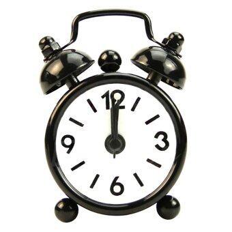 จำนวนรอบหมุนแบบพกพาน่ารักมินินาฬิกาปลุกตั้งโต๊ะ (สีดำ)