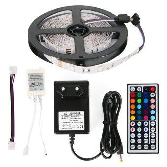 ไฟเส้น ไฟแถบ 5m 5050 RGB 30/M LED Strap Lights + 12V 3A Power supply + 44key IR รีโมทคอนโทรล EU Plug