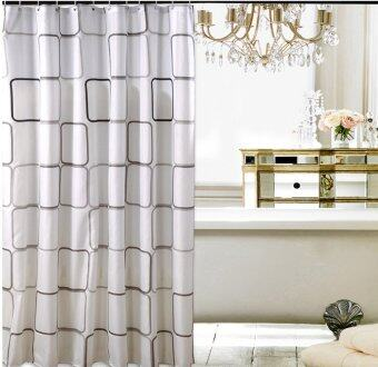 Replica Shop ผ้าม่านห้องน้ำ Polyester 100% เกรด Premium ลายสี่เหลี่ยมใหญ่