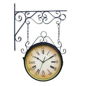 Kristra Home&Decoration นาฬิกาแขวนผนังสองหน้าวินเทจ รุ่น KC0808-black