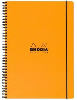 Rhodia Elasti Book สมุดโน๊ต A4 90 แผ่น 180 หน้า กระดาษขาว ช่องตารางสี่เหลี่ยม ปกสีส้ม พร้อมสายรัดยางยืดสีดำ