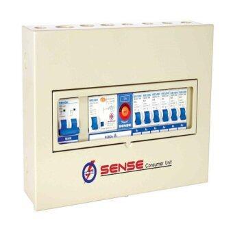 ควบคุมไฟฟ้า (ตู้คอนซูมเมอร์ยูนิต) ขนาด 4 ช่อง พร้อม เครื่องตัดไฟรั่ว (RCD) ในตัว เซนส์ รุ่น S6 1 ตู้