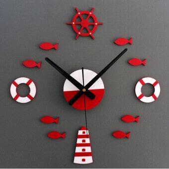 เมดิเตอร์เรเนียนซ่อมนู่น 3D สติ๊กเกอร์ติดผนังการตกแต่งบ้านนาฬิกาแขวนนาฬิกาศิลปะ (สีแดง)