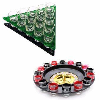 แร็คอะคิลิคใส่แก้วช็อต สามเหลี่ยม 15 แก้ว พร้อม แก้วช็อต 15 ใบ +เกมส์ Wheel Roulette