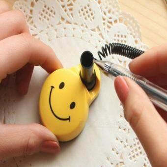ปากกาเจลสีดำพร้อมแท่นเสียบรูปหน้ายิ้ม
