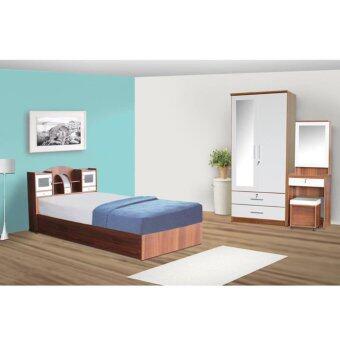 RF Furniture ชุดห้องนอนD3 เตียง 3.5 ฟุต + ตู้เสื้อ 90 cm + โต๊ะแป้ง60cm + ที่นอนสปริง ( สีสัก / ขาว )