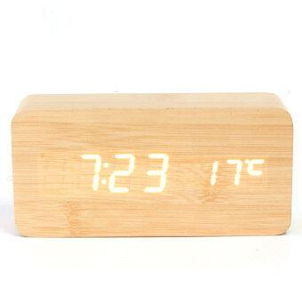ไม้ไผ่แบบขาวนาฬิกาปลุก Led USB/AAA ปฏิทินเครื่องวัดอุณหภูมิในสมัย