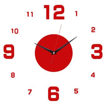 YBC ผนังกระจกนาฬิกาแฟชั่นทำงานกลับบ้านจำนวนห้องการตกแต่งสำนักงานสติกเกอร์ติดผนังสีแดง