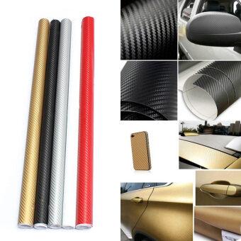 Audew คาร์บอนไฟเบอร์ตัดสติ๊กเกอร์ม้วนสติ๊กเกอร์กระดาษสติ๊กเกอร์รถ 30 x 127 สีดำ - intl