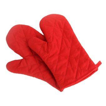 ELENXS เตาอบขนมเตาอบหม้อหุงร้อนพลาสติกถุงมือฝ้ายถุงมือสีแดง