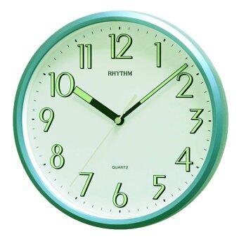 RHYTHM นาฬิกาแขวนผนัง ตัวเลขมีพรายน้ำ รุ่น CMG727NR05 สีบอร์นเขียว