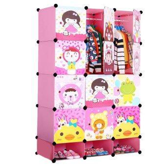 Toyzoner ตู้อเนกประสงค์ DIY Cabinet Lockers Wardorbe 15 ช่อง รุ่น LN006-1 (สีชมพู)