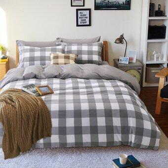 Pillow Land ผ้าปูที่นอน ชุดผ้านวม เกรด A 6 ฟุต 6 ชิ้น - ลายสก๊อต101