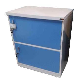 Grace Shop ตู้ล๊อกเกอร์ ตู้เก็บของ ชั้นไม้เอนกปรนะสงค์ 2 ชั้น พร้อมบาเปิดปิดมีกุญแจ รุ่น Locker cabinet (สีขาว/ฟ้า)