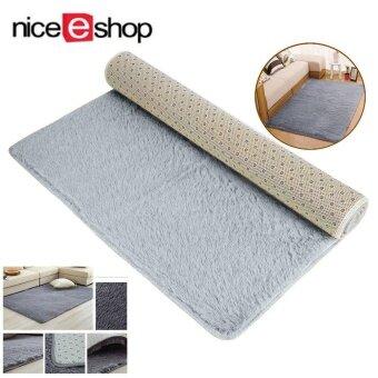 niceEshop Velvet Indoor Morden Area Rugs Pads Living Room Bedroom Floor Carpet (Silver And Gray)