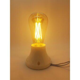 ( 1 ชิ้น ) E27 LED Filament Light Bulb Lamp 4W Vintage Retro Edison Style Warm White 2700K หลอดไฟ เอดิสัน LED 4 วัตต์ ทรงย้อนยุค ขั้ว E27 รุ่น ST64 ( 1 ชิ้น ) By P2warship shop