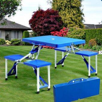 MaxDe ชุดโต๊ะปิคนิคพับได้ 4 ที่นั่ง (สีน้ำเงิน)